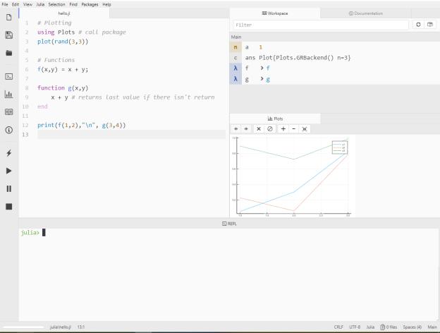 Captura de pantalla de mi entorno para usar Julia en Atom